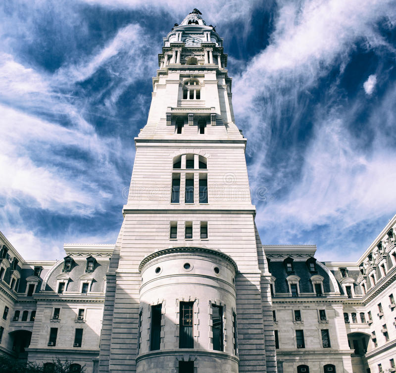 Oude stadhuistoren in Philadelphia stock afbeeldingen