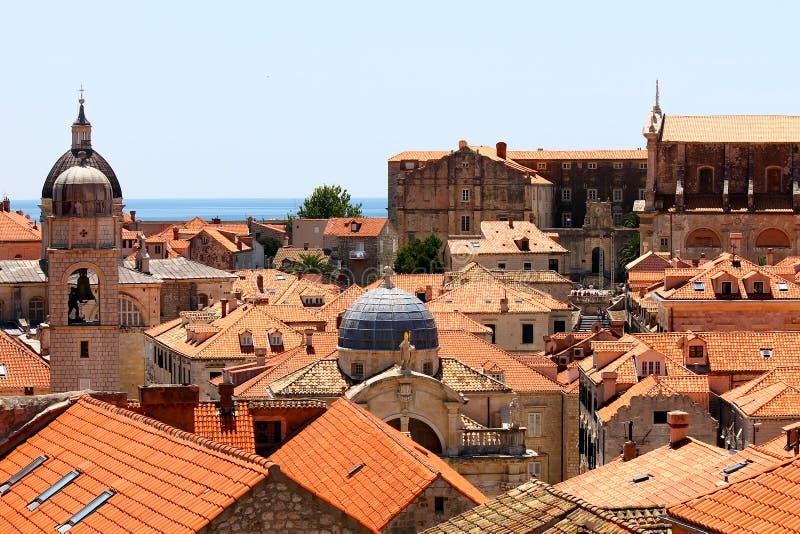 Oude stadsdaken in Dubrovnik royalty-vrije stock fotografie
