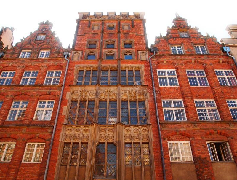 Oude stadsgebouwen in Gdansk, Polen stock afbeeldingen