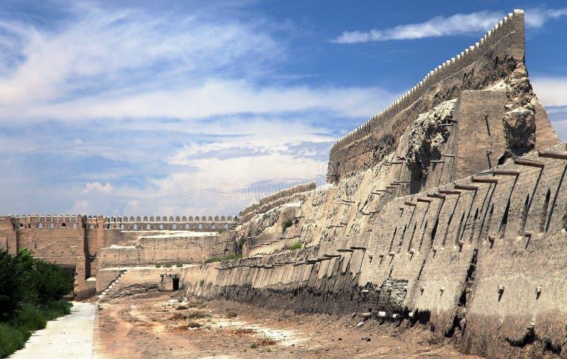 Oude stadsmuren - Boukhara - Oezbekistan stock fotografie