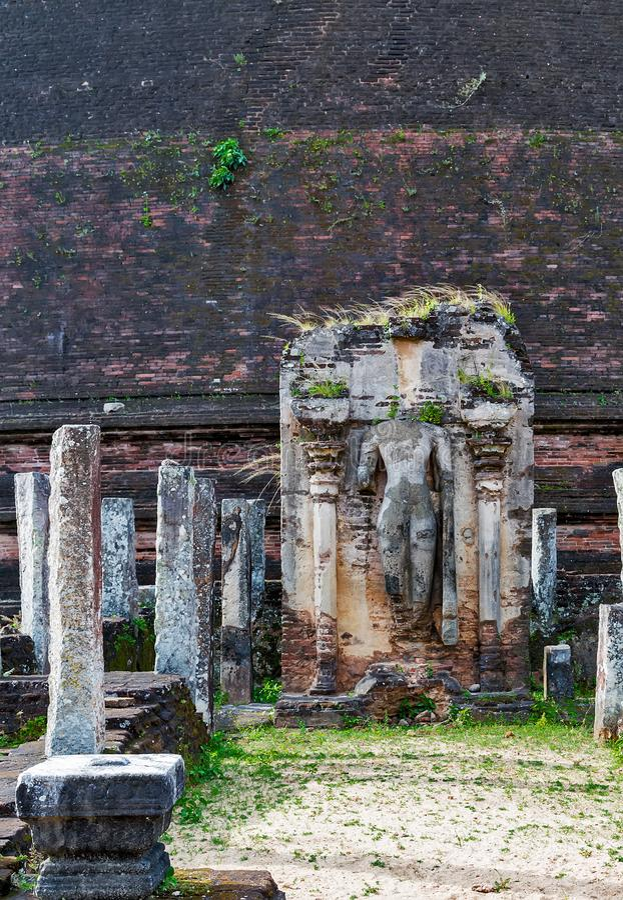 Oude Stadsruïnes in Polonnaruwa-stadstempel Sri Lanka Wereld H royalty-vrije stock afbeeldingen