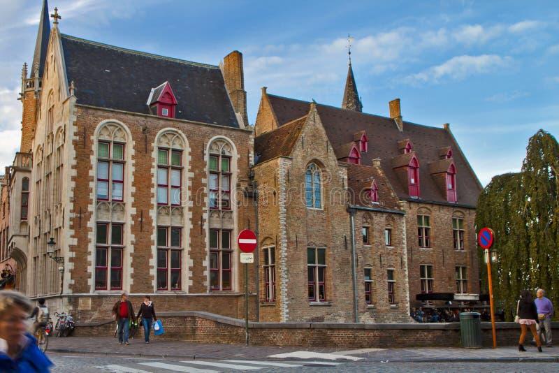 Oude Stadsscène in Brugge, België royalty-vrije stock afbeelding