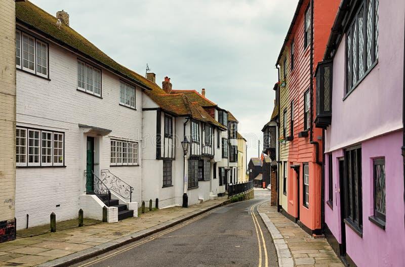 Oude stadsstraat in Hastings stock fotografie