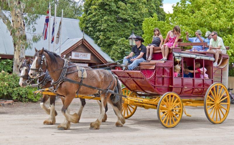 Oude stagecoach binnen in Haven van Echuca. stock afbeeldingen