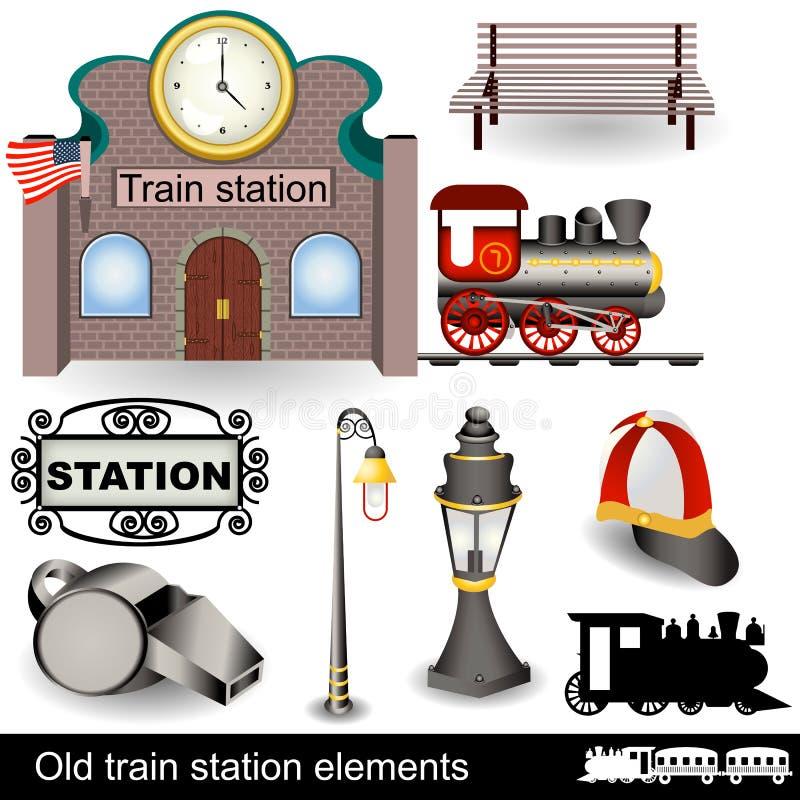 Oude stationelementen royalty-vrije illustratie