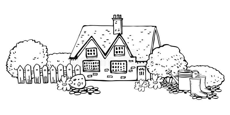 Oude steen Europa countryhouse met het tuinieren hulpmiddelen Het huisvoorgevel, omheining, gieter, laarzen en installaties van h royalty-vrije illustratie