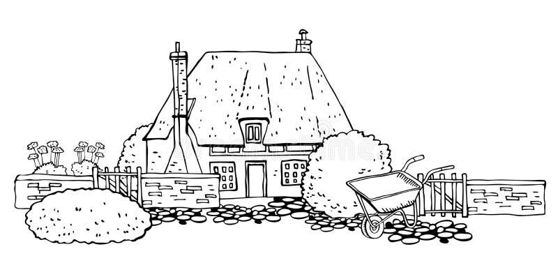Oude steen Europa countryhouse met het tuinieren hulpmiddelen Vectorschetshand getrokken illustratie royalty-vrije illustratie