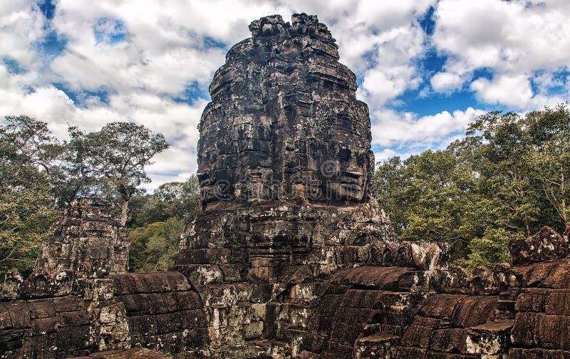 Oude steengezichten van Bayon-tempel, Angkor, Kambodja stock foto's