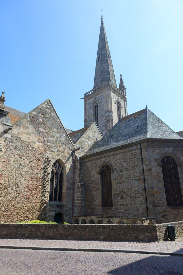 Oude steenkerk in st-Malo royalty-vrije stock afbeelding