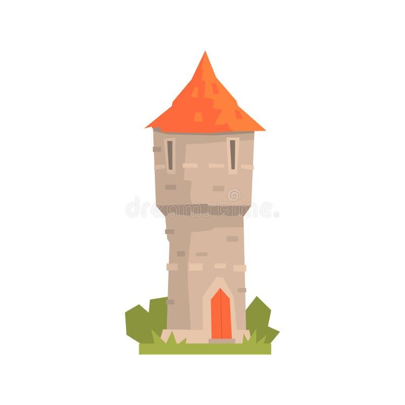 Oude steentoren met rood dak, oude architectuur die vectorillustratie bouwen royalty-vrije illustratie