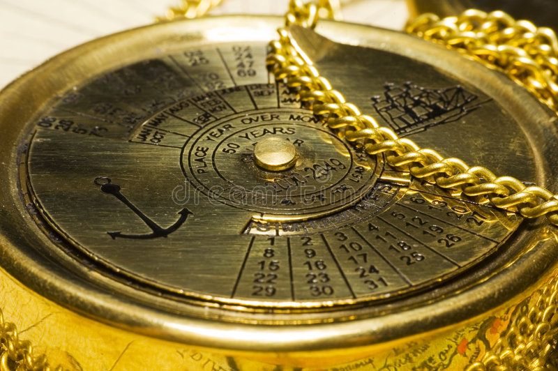 Oude stijl gouden kalender royalty-vrije stock afbeelding