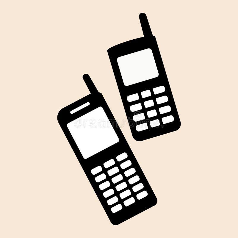 Oude stijl Nokia twee mobiele telefoons geplaatst Mobiel de steunpictogram van telefoonnokia vectoreps10 Oud mobiel telefoon retr stock illustratie