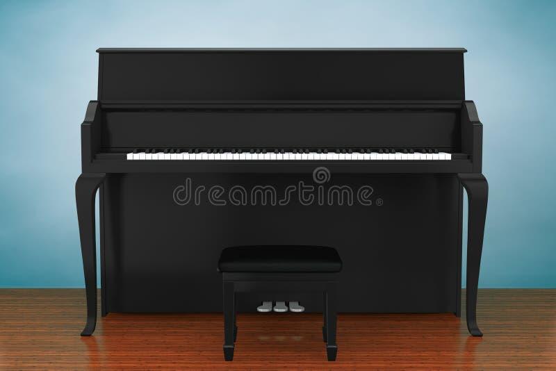 Oude stijlfoto Zwarte piano vector illustratie