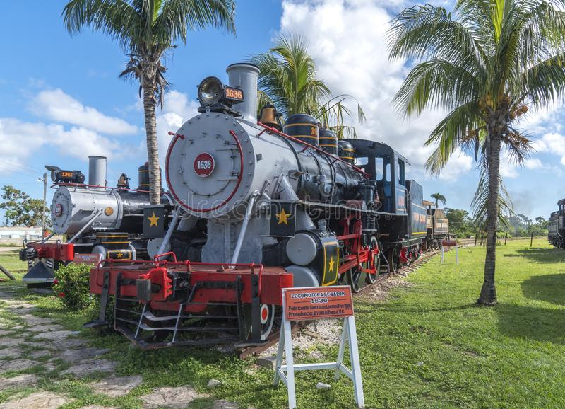 Oude stoomlocomotieven of spoorwegtreinen royalty-vrije stock afbeeldingen