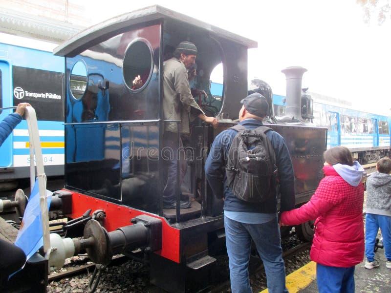 Oude stoommachine bij Haedo-station royalty-vrije stock foto's