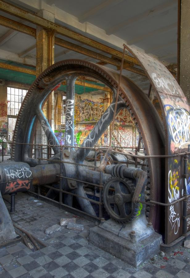 Oude stoommotor stock afbeelding