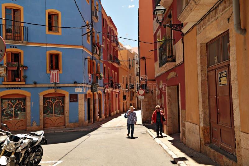 Oude straat in de historische stad van de stad Tarragona Catalonië, Spanje royalty-vrije stock foto's