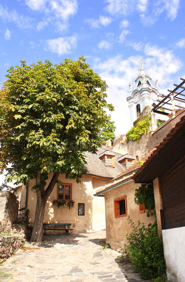 Oude straat in Durnstein, Oostenrijk royalty-vrije stock foto