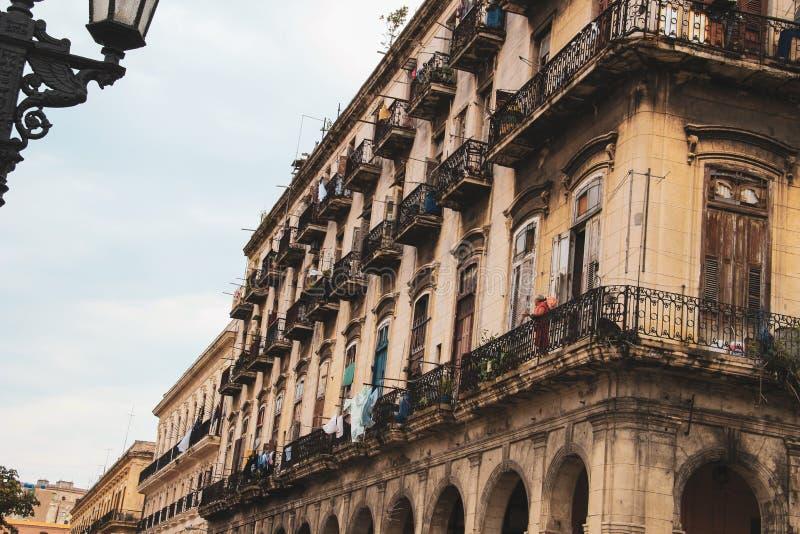 Oude straat van Havana in Cuba, Caribbeans stock foto