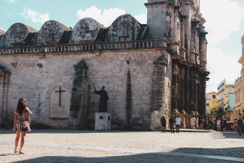 Oude straat van Havana in Cuba, Caribbeans stock foto's