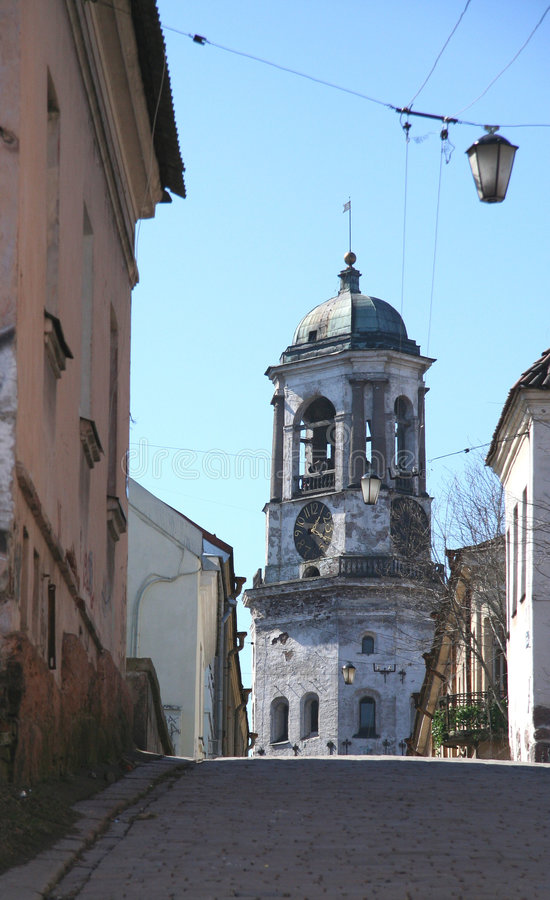Oude straat van Vyborg (Rusland) royalty-vrije stock afbeelding