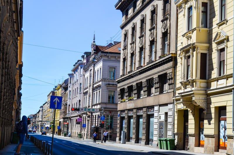 Oude Straat in Zagreb, Kroatië royalty-vrije stock afbeeldingen