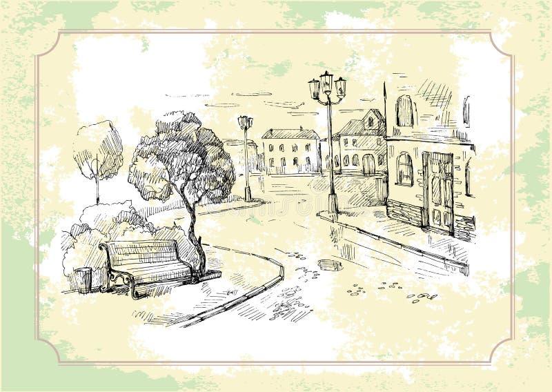 Oude straatachtergrond royalty-vrije illustratie