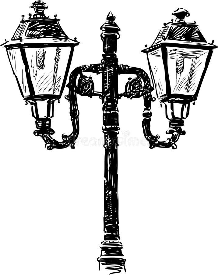 Oude straatlantaarn stock illustratie