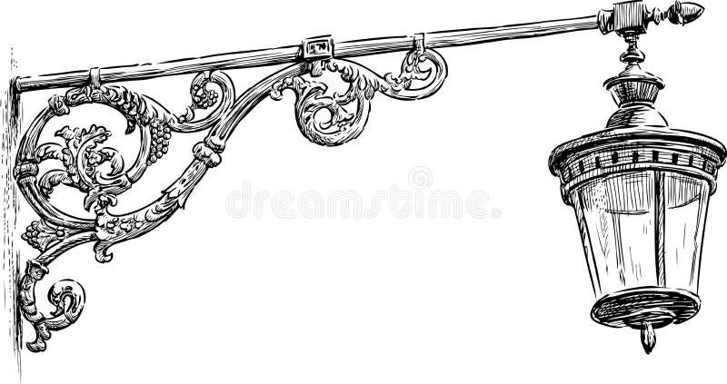 Oude Straatlantaarn vector illustratie
