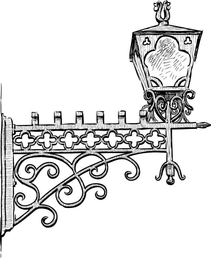 Oude Straatlantaarn royalty-vrije illustratie