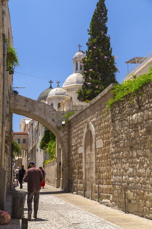 Oude straten en gebouwen in de oude stad van Jeruzalem royalty-vrije stock afbeeldingen