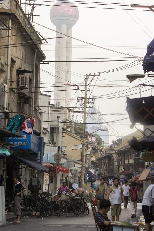 Oude straten van Shanghai stock afbeeldingen