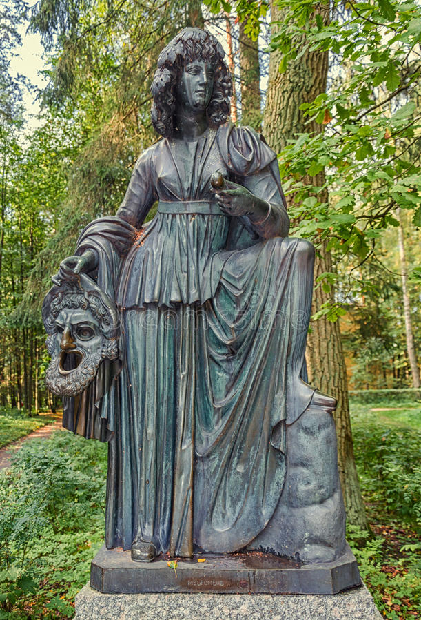 Oude Sylvia & x28; Twaalf paths& x29; standbeelden melpomene stock fotografie