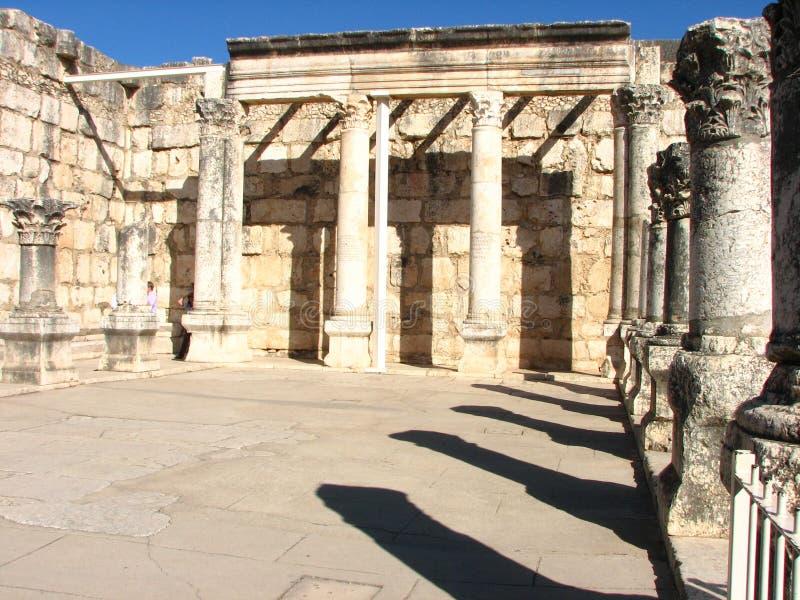 Oude synagoge in Capernaum Israël stock afbeeldingen