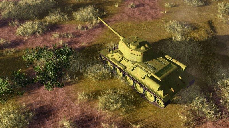 Oude tank T 34 op slagveld hoogste mening stock illustratie