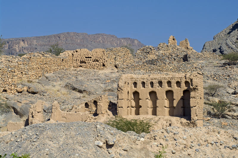 Oude Tanuf stad, Oman royalty-vrije stock foto's