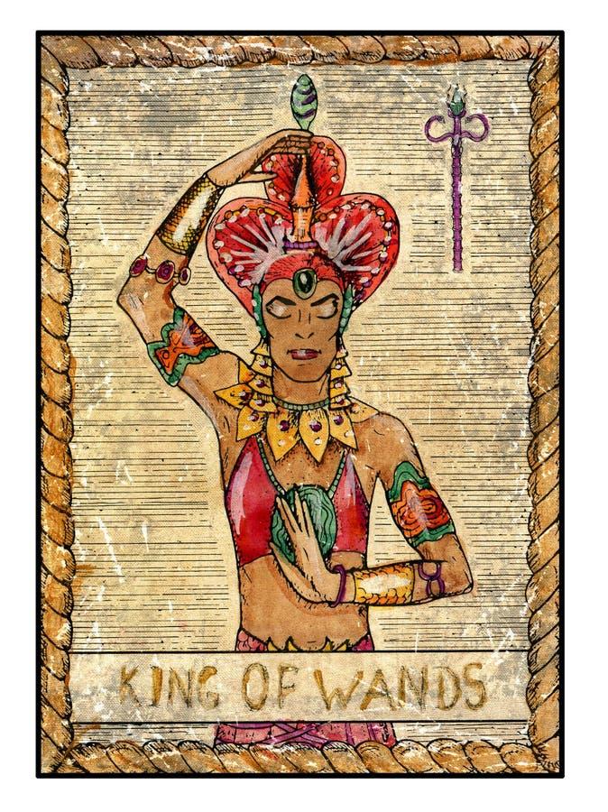 Oude tarotkaarten Volledig dek Koning van toverstokjes vector illustratie