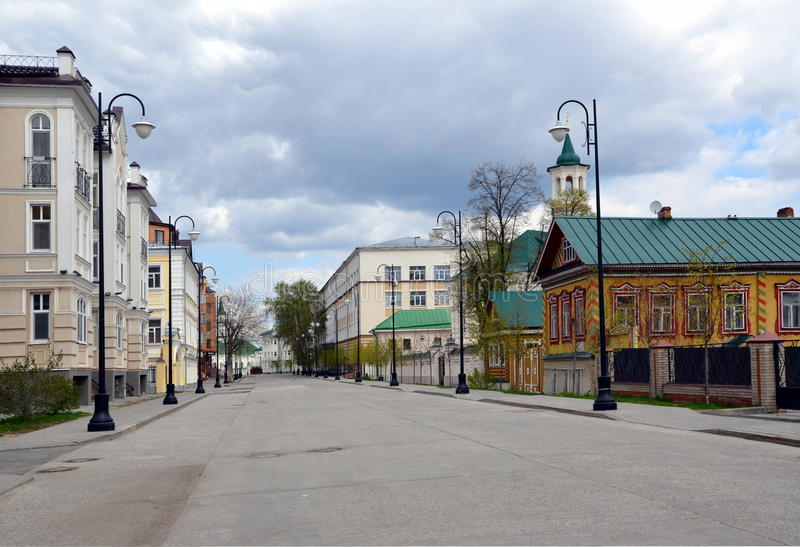 Oude Tatar nederzetting in Kazan stock afbeelding