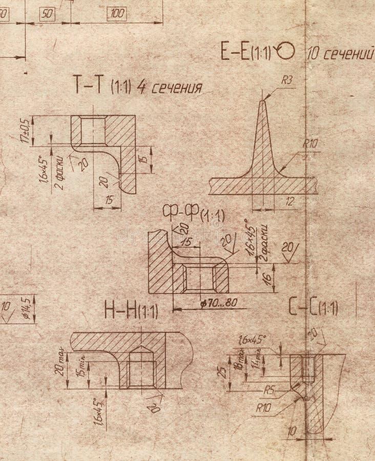 Oude techniekblauwdruk vector illustratie
