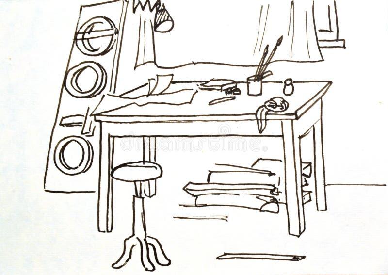 Oude tekening workshop studio stock fotografie