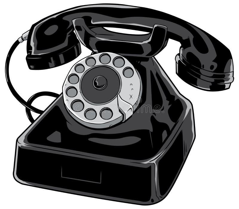 Oude telefoon op wit stock illustratie