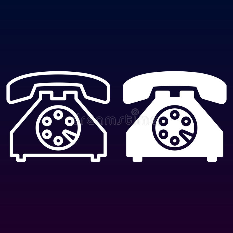 Oude telefoonlijn en stevig pictogram, overzicht en gevuld vectorteken, lineair en volledig die pictogram op wit wordt geïsoleerd royalty-vrije illustratie