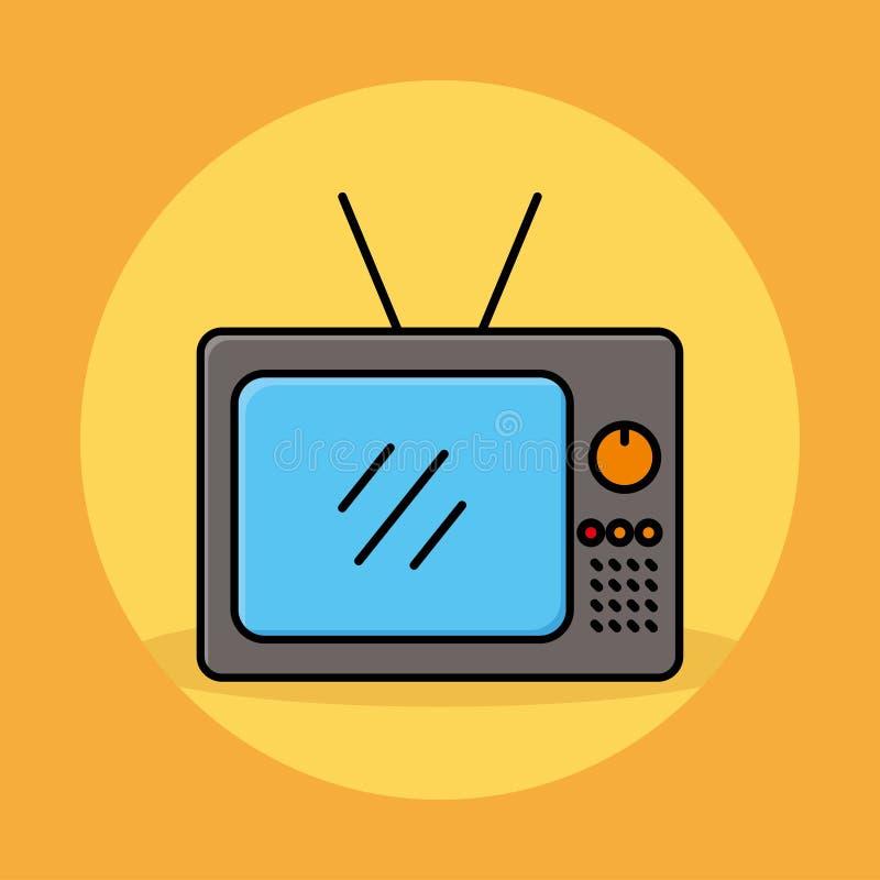 Oude televisie vectorillustratie met grijze en blauwe kleur royalty-vrije illustratie