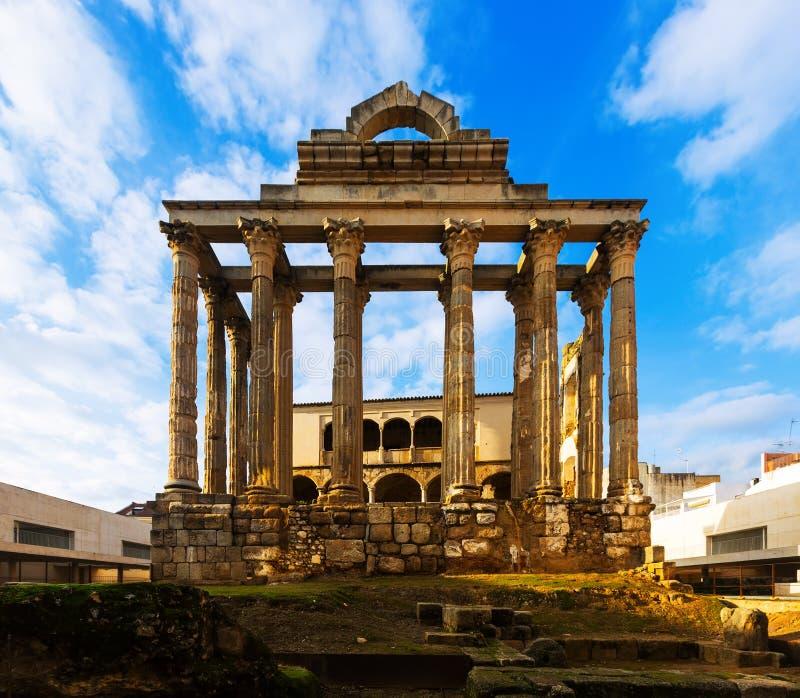 Oude tempel van Diana in Merida, Spanje royalty-vrije stock foto