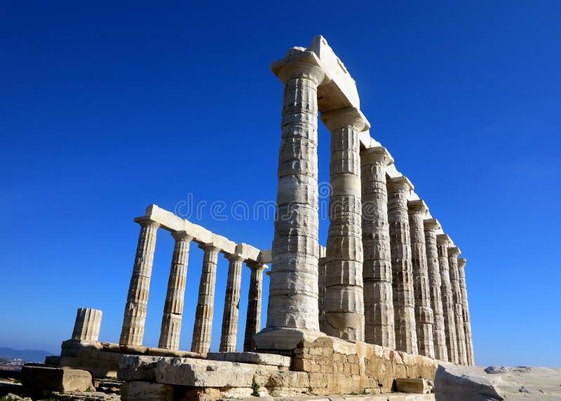 Oude Tempel van Poseidon in Capo Sunio in Attica Greece royalty-vrije stock fotografie
