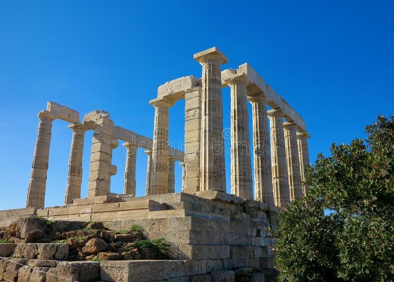 Oude Tempel van Poseidon in Capo Sunio in Attica Greece stock afbeeldingen