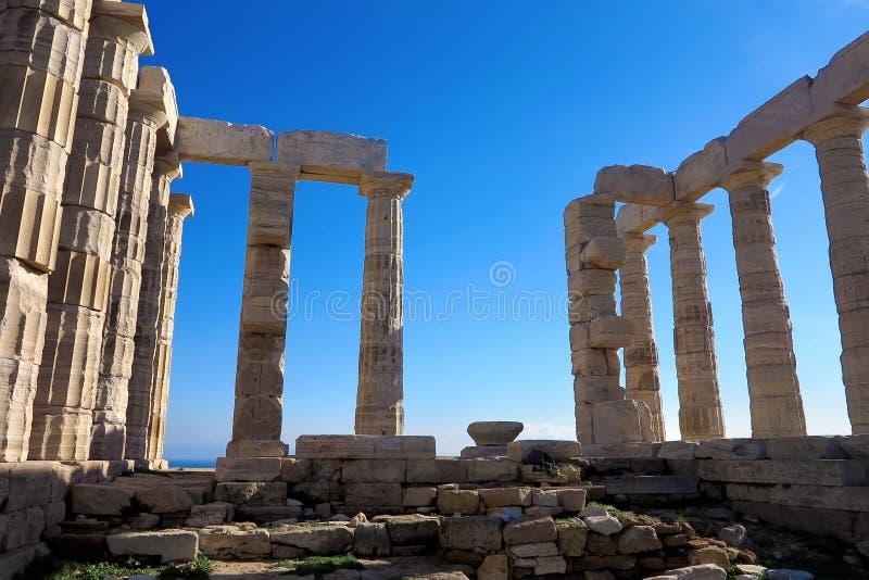 Oude Tempel van Poseidon in Capo Sunio in Attica Greece stock fotografie