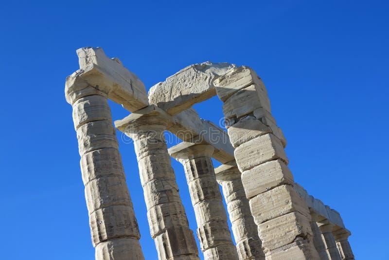 Oude Tempel van Poseidon in Capo Sunio in Attica Greece stock afbeelding