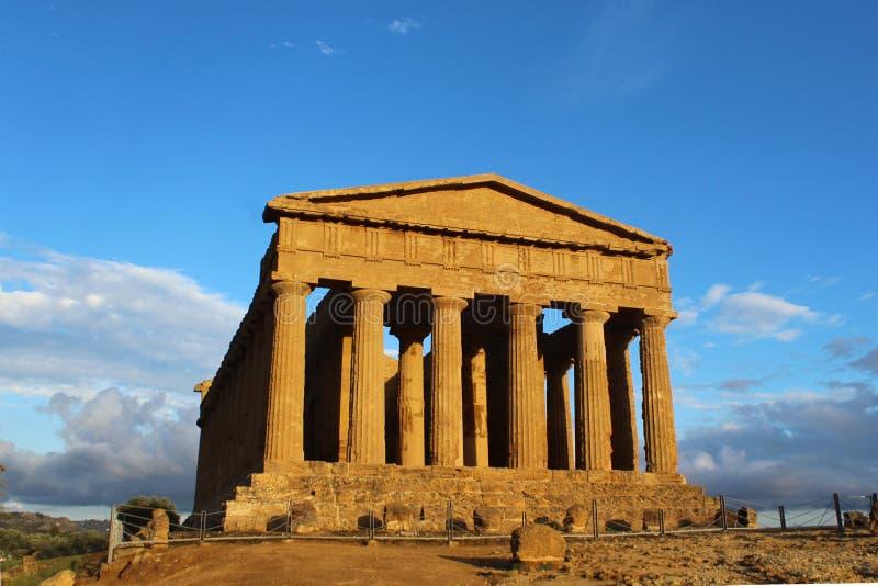 Oude Tempel van Verdrag in de Vallei van Tempels, Agrigento, Italië stock afbeeldingen