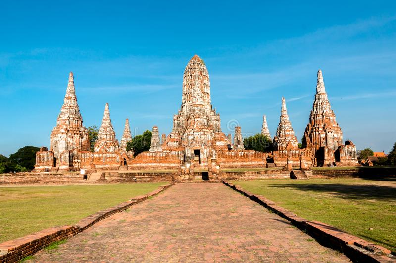 Oude Tempel wat Chaiwatthanaram van Ayutthaya-het Historische Park Azi? Thailand van Provincieayutthaya stock foto
